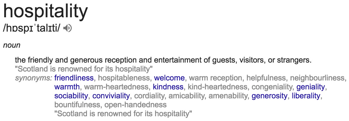Google's definition of hospitality