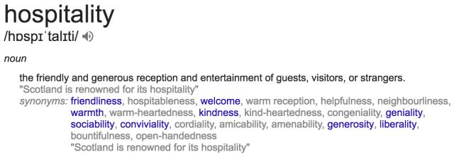 Google's definition of hospitality