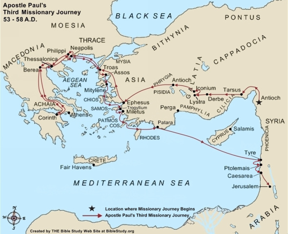Map of the Apostle Paul's third missionary journey