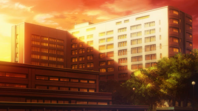 Sun shining over a hospital