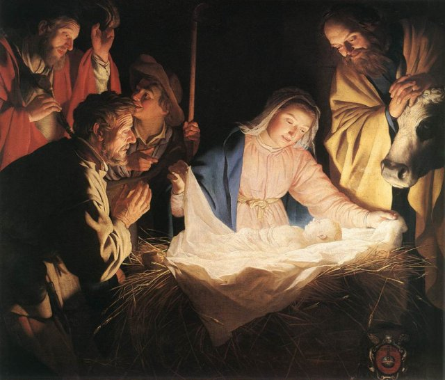 """Adoration of the Shepherds"" (1622) painting by Gerard van Honthorst"