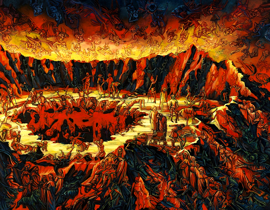 Mary Porterfield's painting of a volcanic hell